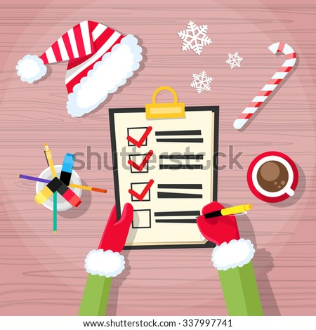 Christmas Check Present Wish List Santa Clause Helper Elf Hand Writing Pen Desk Flat Vector Illustration - stock vector