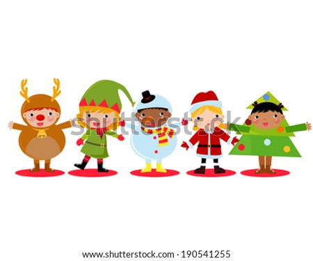 christmas children set with:santa claus, reindeer, snowman and tree - stock vector
