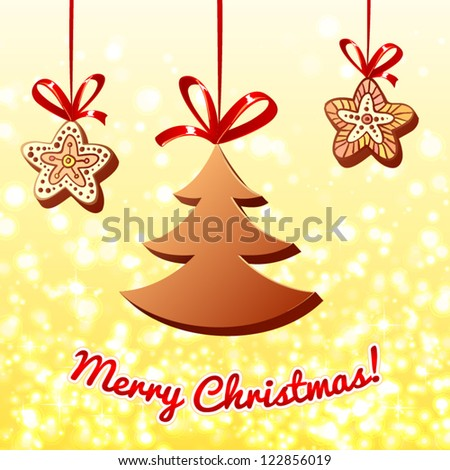 Christmas chocolate trees and gingerbreads on lights background