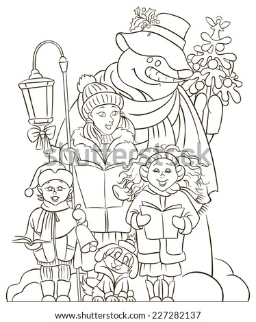 Christmas Choir Carol Singers Christian Holiday Children Coloring Page Also Available Colored Version
