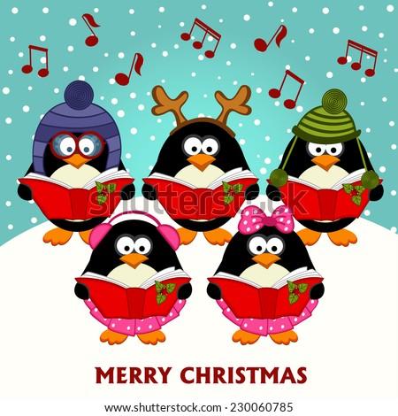 Christmas choir penguins - vector illustration, eps - stock vector