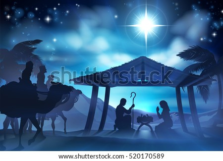 Christmas Christian Nativity Scene of baby Jesus in the manger with Mary and Joseph in silhouette and the three wise men