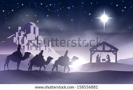 Christmas Christian nativity scene with baby Jesus in the manger in silhouette, three wise men or kings and star of Bethlehem with the city of Bethlehem in the distance - stock vector