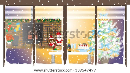 Christmas / Christmas party / Room - stock vector