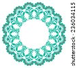 Christmas circle ornament. Vector snowflake. blue garland for winter decoration. - stock vector