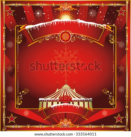 Christmas circus greeting card. A circus vintage square greeting card for your christmas show - stock vector