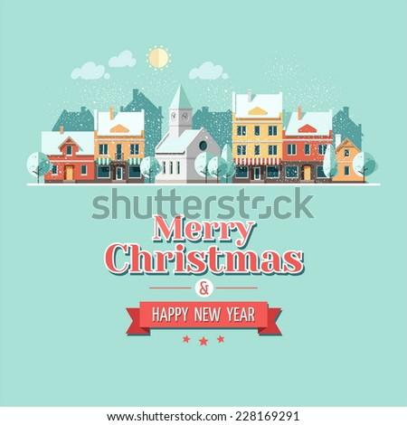 Christmas city greeting card - snowy street. Vector illustration.   - stock vector
