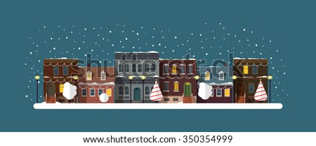 Christmas city silhouettes night with garlands decorations. Cityscape.Christmas winter city street with small houses and trees and lamp on background. - stock vector