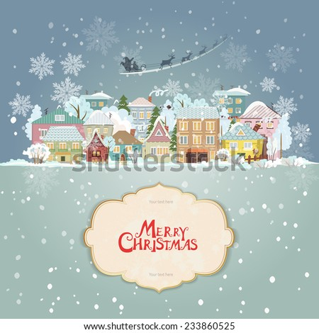 christmas cityscape with vintage label for your design - stock vector