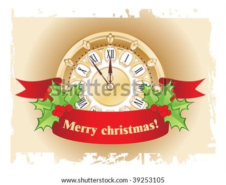 Christmas clock - stock vector
