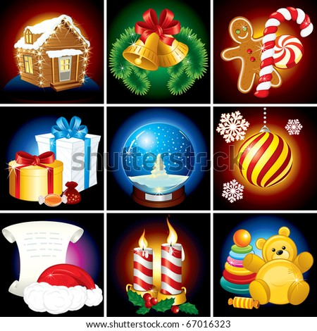 Christmas Collection. Festive vector Elements, Icons, Symbols and Illustrations
