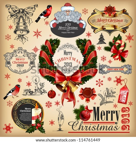 Christmas collection of calligraphic and typographic elements with frames, vintage labels, ribbons, stickers, Santa Claus, birds and balls. Set  for design. - stock vector