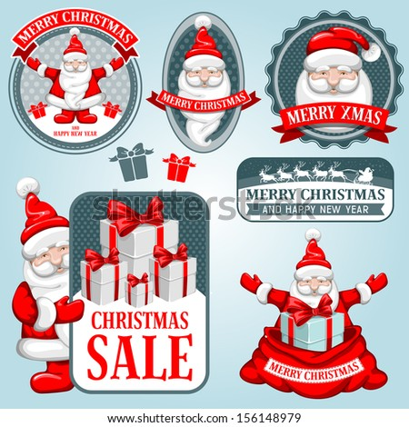 Christmas collection of design elements with Santa Claus. - stock vector