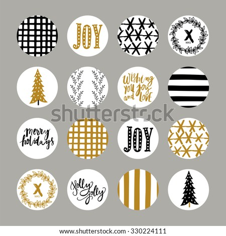 Christmas collection of stickers with hand drawn textures made by ink. Vector art of label design. Beautiful Scrapbook Elements. Ideal for cards, posters, invitations, planner, notes. - stock vector