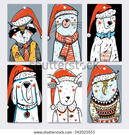 Christmas  collection of vector tags with funny hand drawn animals - stock vector