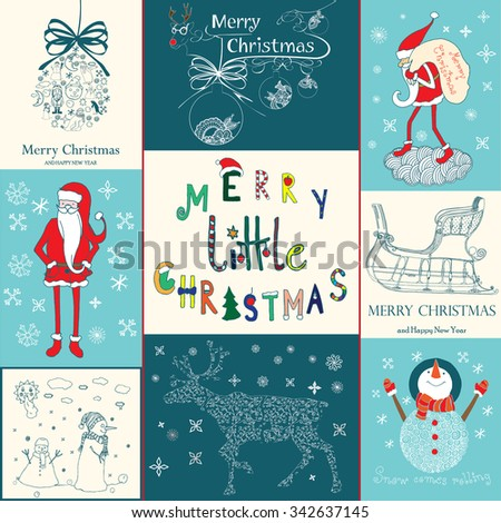 Christmas collection set - stock vector