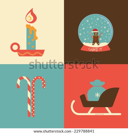 Christmas collection / Vector illustration / Christmas and winter icons set / Flat design - stock vector