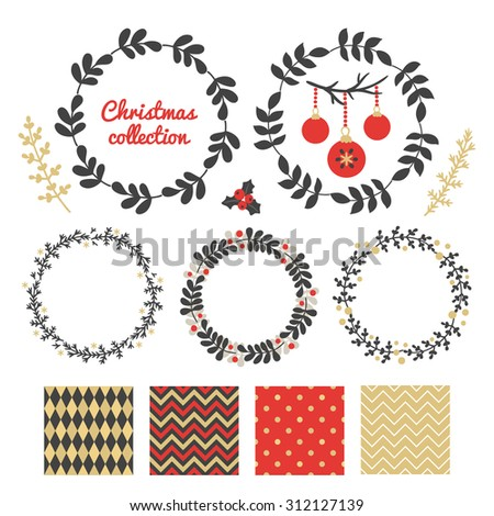 Christmas collection with floral wreaths, branches and seamless patterns. Chevron, Harlequin and Polka Dot patterns. Branch with Christmas balls. Perfect for greeting cards, invitations, decorations