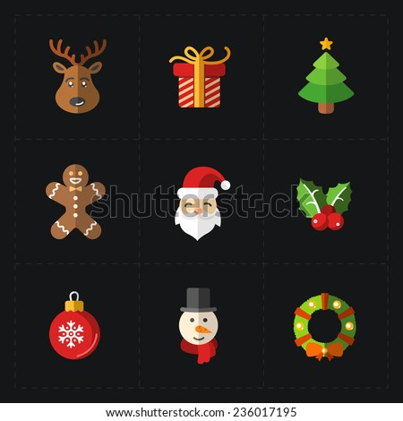 Christmas color icons collection - vector illustration. - stock vector