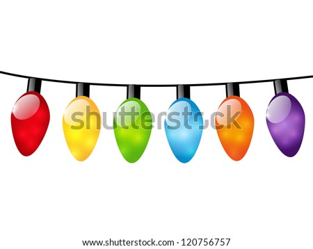 Christmas color light bulbs on white stock vector for Lumiere de noel exterieur solaire