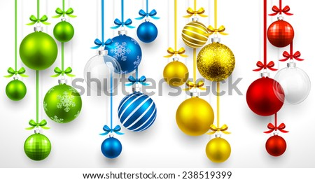 Christmas colored balls on light background. Vector illustration - stock vector