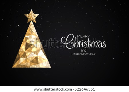 Christmas colorful greeting card made in polygonal origami style. Party poster, greeting card, banner or invitation. Christmas tree formed by triangles. Vector