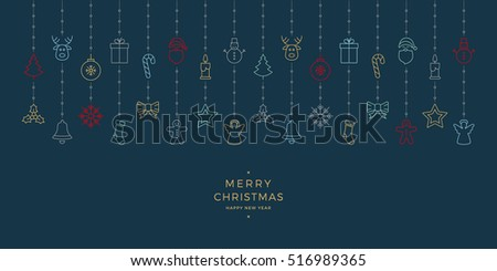 christmas colorful icon elements hanging blue background