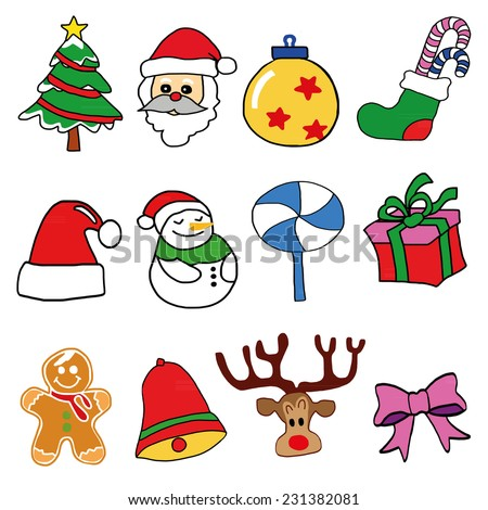 Christmas colorful icons set, Hand draw vector  - stock vector
