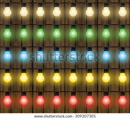 Christmas colorful lights, light bulbs decoration vector set - stock vector