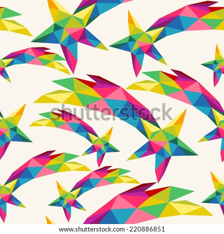 Christmas colorful shooting star seamless pattern for fabric and wrapping paper. EPS10 vector file organized in layers for easy editing. - stock vector