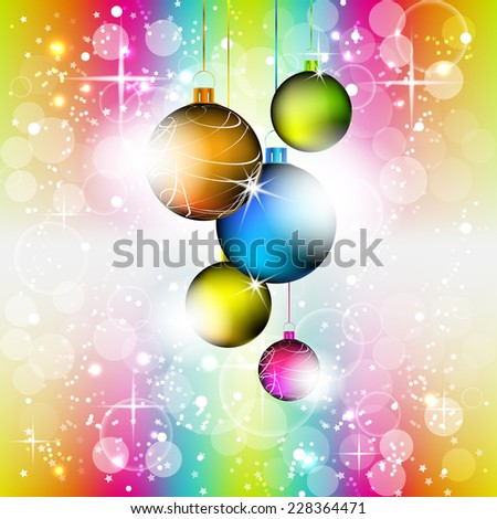 Christmas colorful vector background with christmas balls, bubbles, stars and decoration