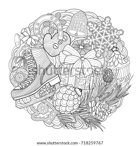 Christmas Coloring Page Stock Vector 718259767 - Shutterstock