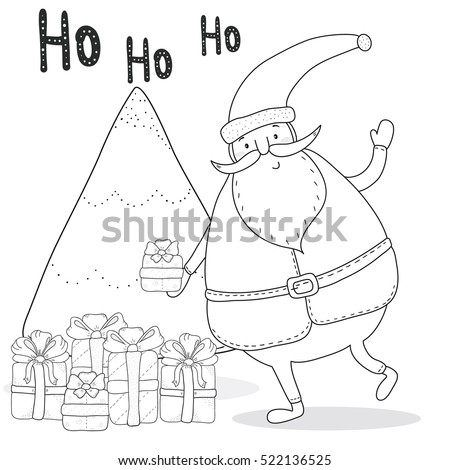 Christmas Coloring Page With Santa Claus Tree Gift Boxes