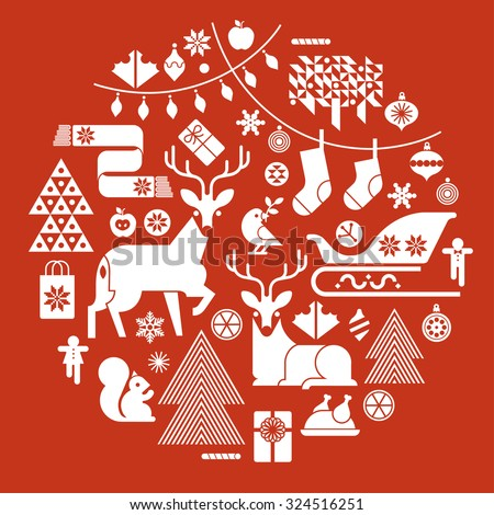 Christmas composition in a shape of circle with winter holiday symbols and silhouettes.   - stock vector