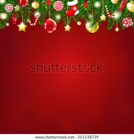 Christmas Composition With Gradient Mesh, Vector illustration - stock vector