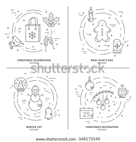Christmas concept with different Christmas items made in modern style linear vector. Clean and easy to edit.Unique illustration for t-shirts, banners, flyers and other types of business design. - stock vector