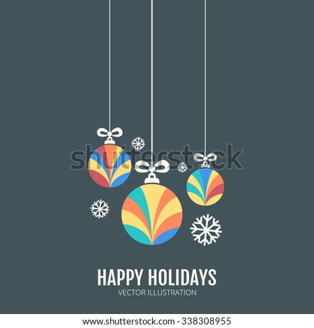 Christmas congratulation card with colorful round balls. - stock vector