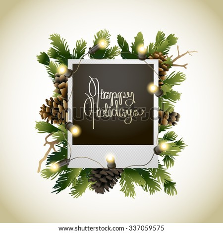 Christmas coniferous design with glowing garland. Vector holiday card - stock vector