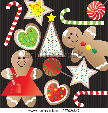 Christmas Cookies and Candy on Black - stock vector