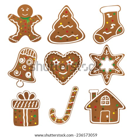 Christmas Cookies Collection - stock vector