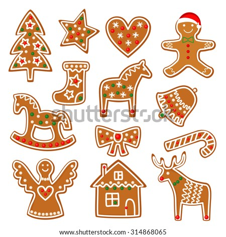 Christmas cookies collection with gingerbread and cookies figures isolated on white background - xmas tree, candy cane, angel, bell, sock, gingerbread men, star, heart, deer, rocking horse. - stock vector