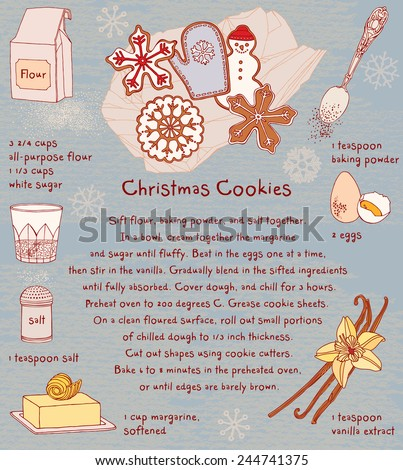 Christmas Cookies. Recipe card. - stock vector