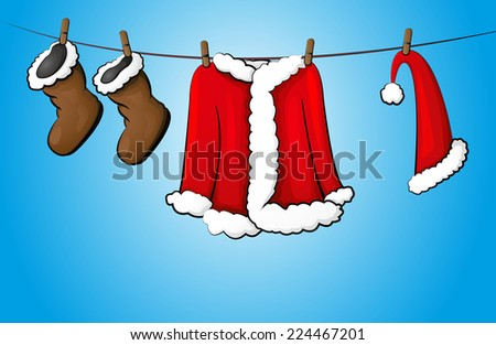 christmas costume on the clothing line - stock vector