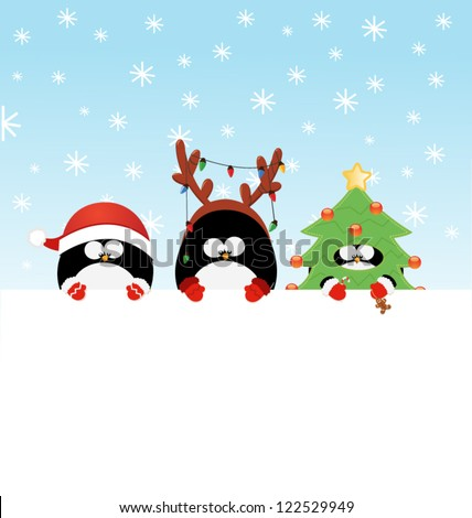 Christmas Costumed Penguin's Message - stock vector
