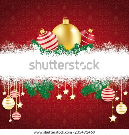 Christmas cover with white snowflakes on the red background. Eps 10 vector file. - stock vector