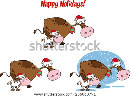 Christmas Cow and Calf Cartoon Character. Vector Collection Set - stock vector
