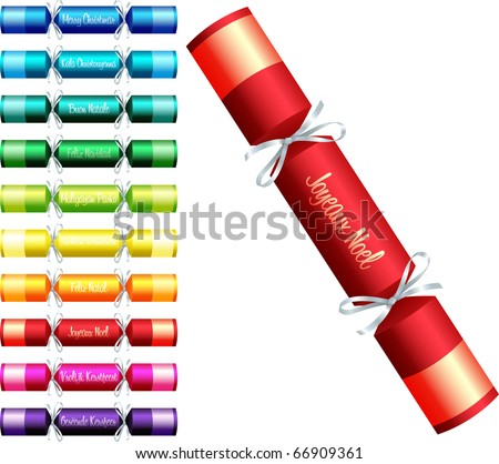 Christmas crackers with 'Merry Christmas' in ten different languages in a variety of colours on a white background. - stock vector