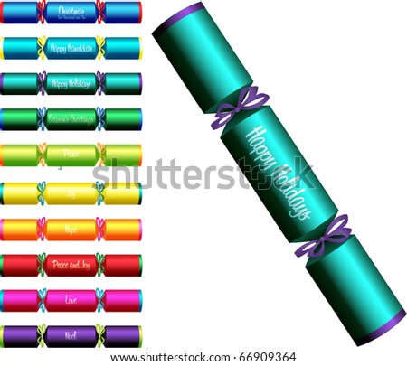 Christmas crackers with words in a variety of colours on a white background.