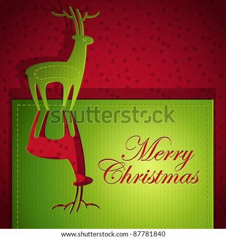 Christmas creative greeting card design - Vector illustration paper art - stock vector