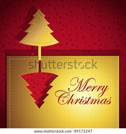 Christmas creative trendy card - Vector illustration paper art - stock vector
